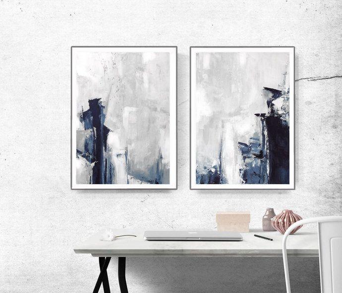 Grey Abstract Wall Art Set Of 2 Prints Modern Abstract Art Navy And Grey Art Brushstroke Art Minimalist Art Set Diptych Wall Art Diptych Wall Art Abstract Wall Art Geometric Art Prints