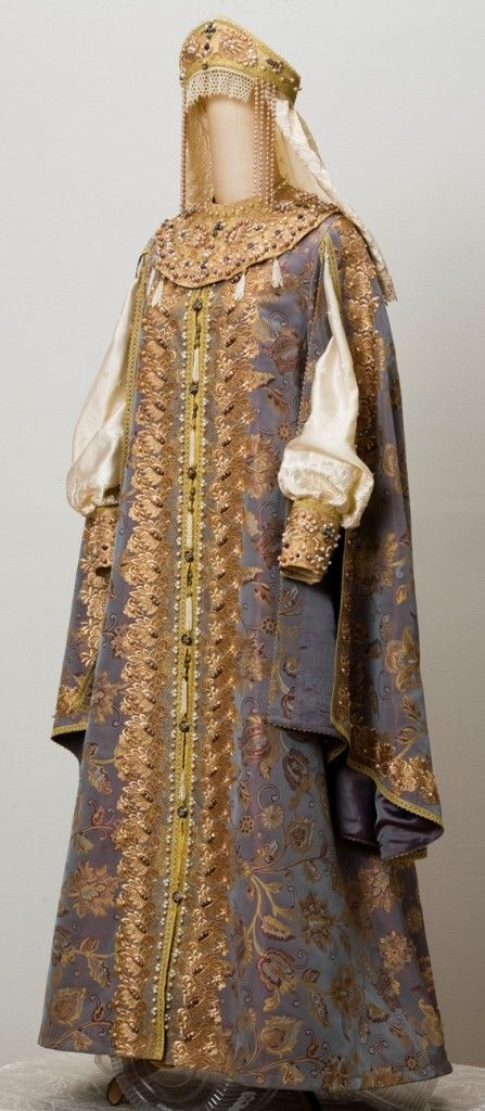 The replica of Russian Duchess gown of the 16-17th centuries. Performed from the materials that were used in the gown of that era.