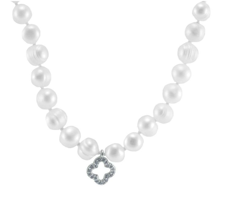 Dell CZ Clover  White Fresh Water Pearl Necklace – 7mm