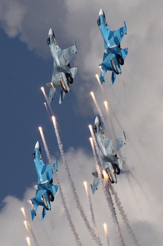 Sukhoi Su-27s formation releasing flares