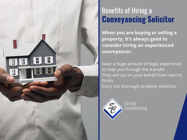 Benefits of Hiring a Conveyancing Solicitor - When you are buying or selling a property, it's always good to consider hiring an experienced conveyancer.  •Have a huge amount of legal experience to help you through the transfer  •They will act on your behalf from start to finish. •Carry out thorough property searches.