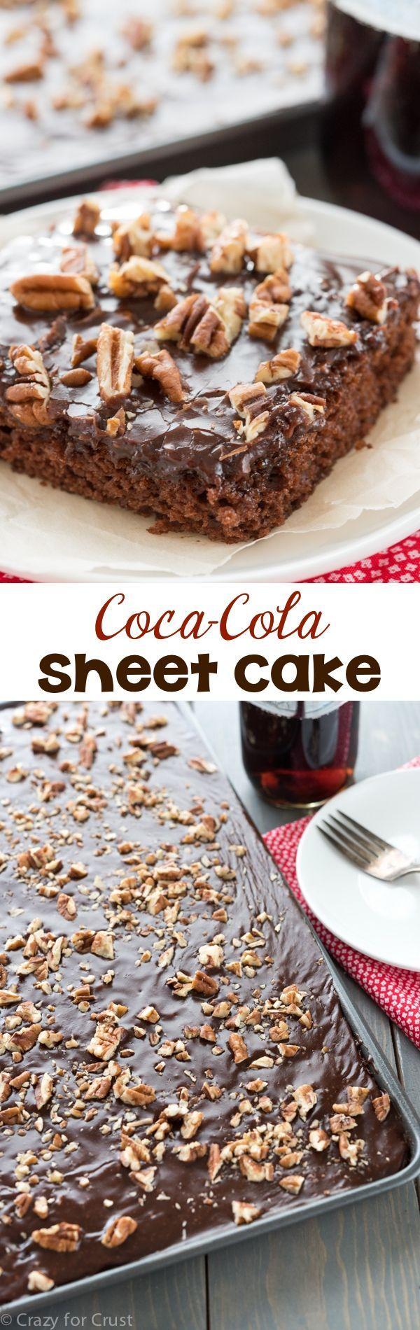 Esta torta de la hoja de Coca Cola es perfecto para una cena!  Es y fácil receta que es rápido y sin huevo con la mejor helar nunca!