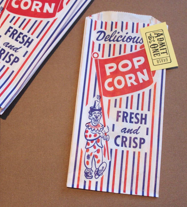 25 Popcorn Candy Buffet Bags Retro Vintage Design w/ Admit One Tickets Circus Carnival Kids Birthday Party Favor Bags Favor Movie Slumber. $5.99, via Etsy.