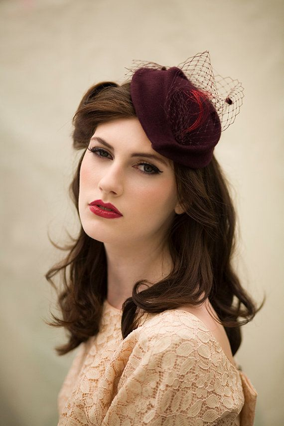 Veiled Cocktail Hat with Feather Twist by MaggieMowbrayHats, £135.00
