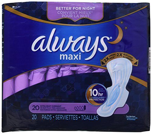 ALWAYS MAXI OVERNIGHT HVY FLOW Size: 6X20  http://darrenblogs.com/us/2018/01/31/always-extra-heavy-overnight-maxi-pads-with-flexi-wings-20-count-2-pack/