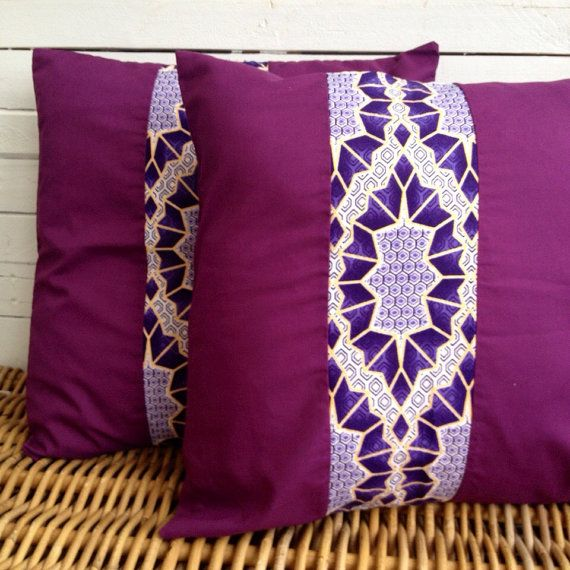 Pair of Purple Cushion covers throw pillow cover by ChilliPeppa
