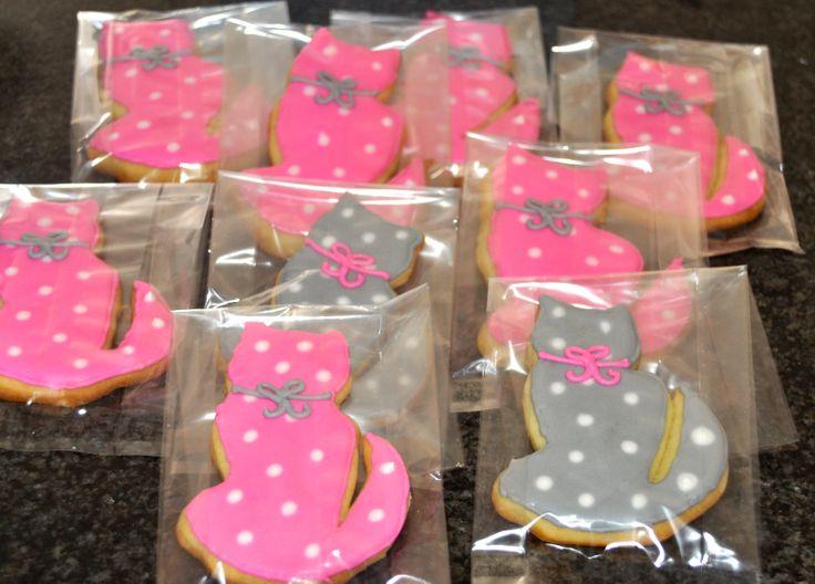Kitten Cookies Pink & Grey polka dots