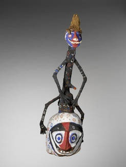 This is a mask that a person in a tribe could wear.