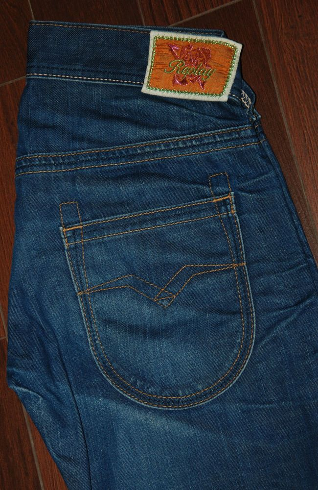Replay Womens Jeans WV 410 A 032 W 30 L 32 Low Boot Cut Blue