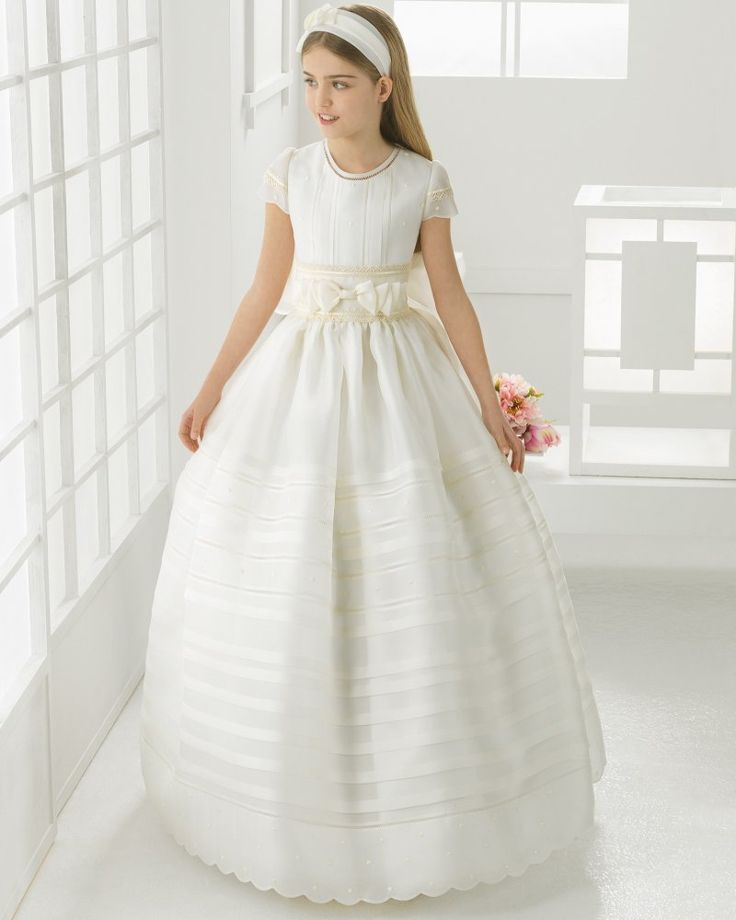 Jewel Neck Ball Gown Pattern Organza First Communion Dress With Double Bows