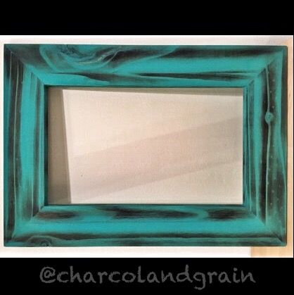 Knotty Pine Picture Frame  Charcoal Turquoise