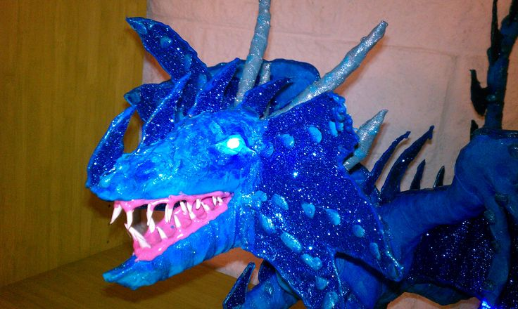 My New small blue dragon with LED blue lights ,