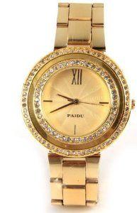 Paidu Women Quartz Watch Gold Color Steel Band Wrist Watch 58938 ! watches are best gifts.