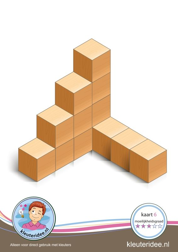 Bouwkaarten voor kleuters, Bouwkaart 6 moeilijkheidsgraad 3 voor kleuters, kleuteridee, Preschool card building blocks with toddlers 6, difficulty 3.