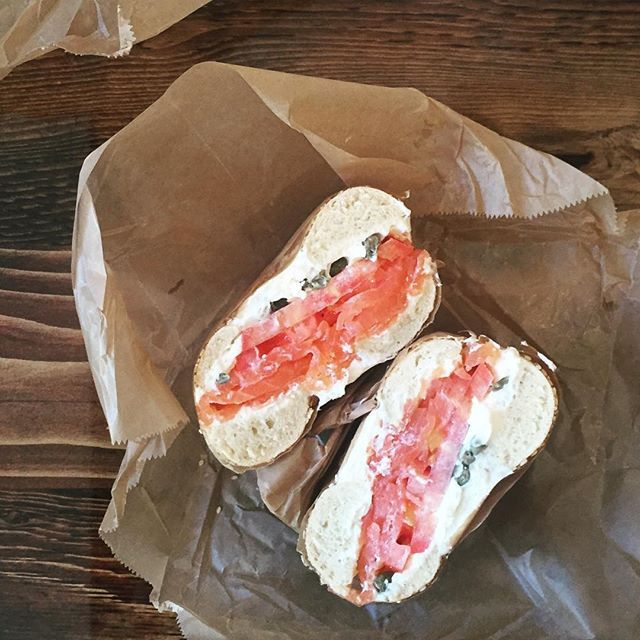 My new favorite #bagel place might very well be H&H Midtown bagels East (This is smoked salmon and creamheese with tomato and capers and it was sooooo good :) #nycfood  #nycfoodies #hhbagels #salmon