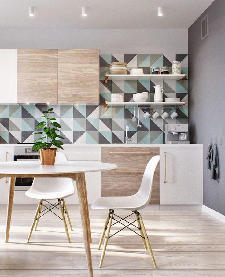 papier peint gomtrique triangles en gris clair blanc et bleu glacier dans la cuisine