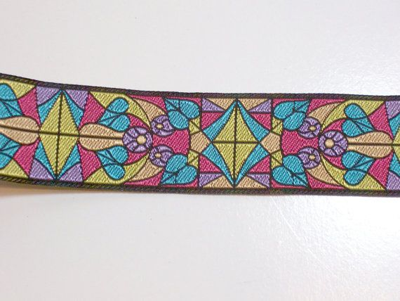 Floral Art Deco Jacquard Ribbon 1 1/4 inches by GriffithGardens, $6.00