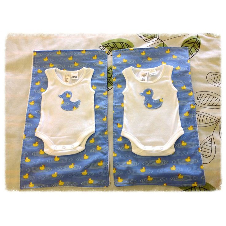 $30 Newborn Gift Set of 2 Bodysuits and Matching Baby Burp Cloths by IsabelleMaryCreations on Handmade Australia