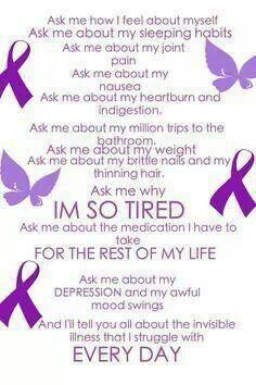 Invisible illness...unless you have it, you can't possibly understand. AND no one ever wants to really hear about it.