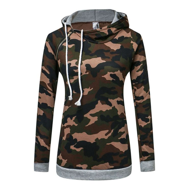 Fashion Newest Students Camouflage Sweatshirts Hooded Long Sleeve Pockets Pullover Women Casual Long Hoodies Cotten Blend-448E