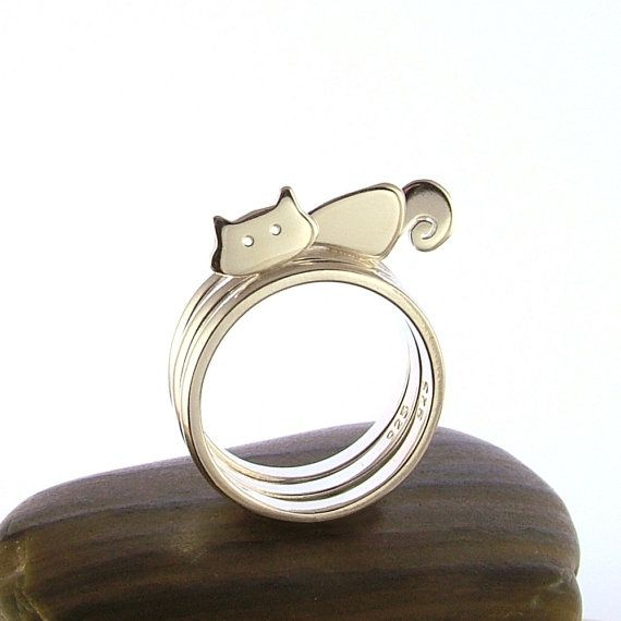 Sterling Silver Cat, Body & Tail Stacking Rings - Cat Jewellery - Animal Rings - Set of 3 Rings