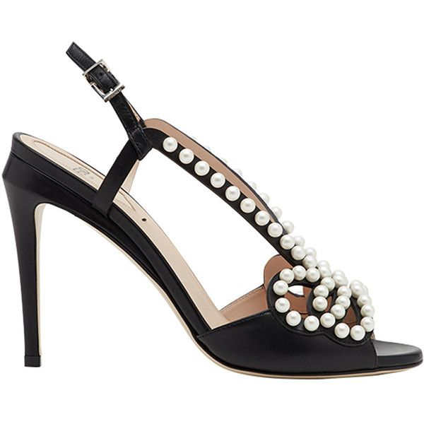 Fendi faux pearl-embellished sandals ($1,000) ❤ liked on Polyvore featuring shoes, sandals, black, black flatform sandals, black sandals, black strap sandals, black embellished sandals and black open toe mules
