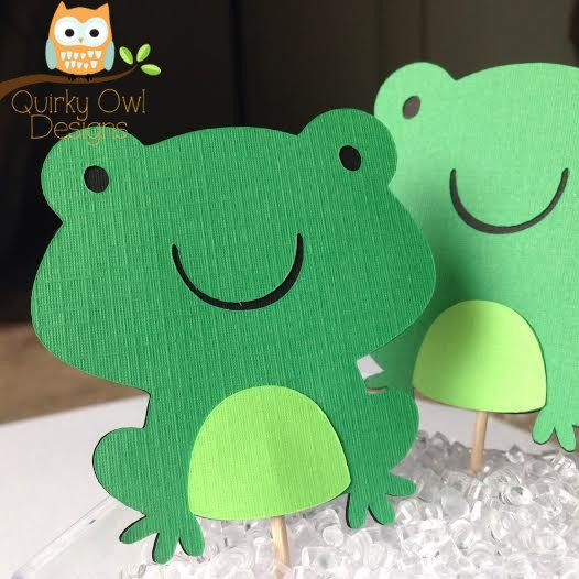 Frog Cupcake Toppers 12 Friendly Pond Baby Shower Toppers