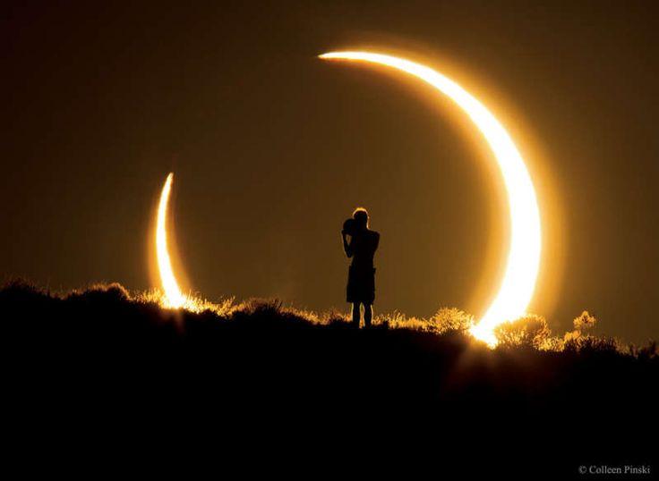 Кольцеобразное солнечное затмение над Нью-Мексико