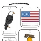 Social Studies: Patriotic Symbols Art Mobile. Students will cut, color and label 5 patriotic symbols for a Mobile Art project. Cool Project to do a...