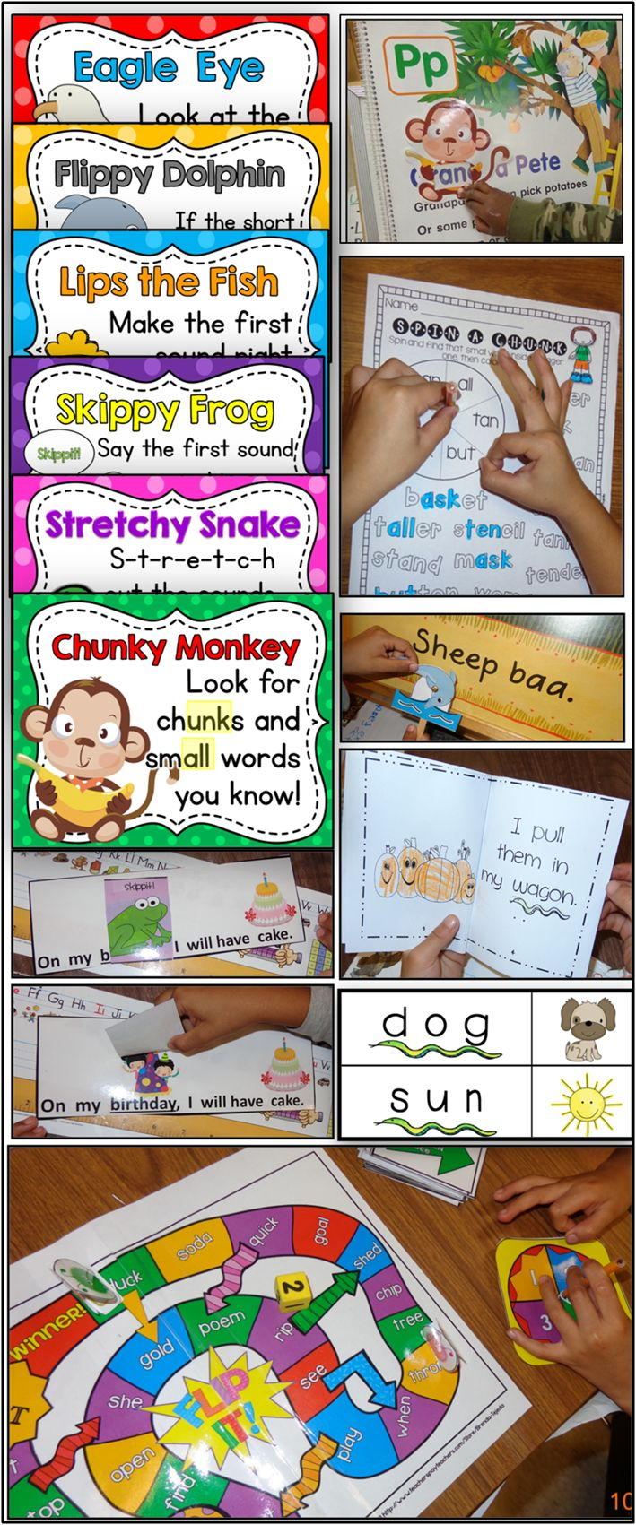 Fun, interactive way of teaching reading strategies. Bundle has 6 packs- Stretchy Snake, Chunky Monkey, Eagle Eye, Lips the Fish, Skippy Frog, and Flippy Dolphin, PLUS a review pack.