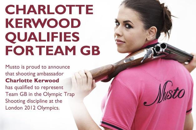 Charlotte Kerwood Musto shooting ambassador has qualified for Team GB London 2012 Olympics