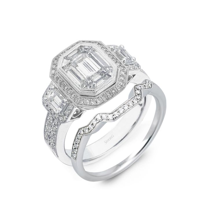 platinum simon g engagement ring like kim kardashians with matching wedding band - Wedding And Engagement Rings