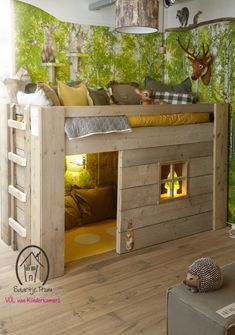 I don't have kids, but what an awesome bedroom this would be. Like a log cabin in the woods, complete with wildlife. Super cool