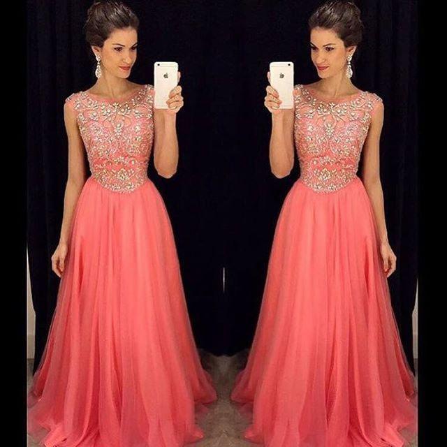 They have in a blush pink.  Beading Prom Dress Long Evening Dresses, Formal Dresses ,Floor Length Long Prom Dress, Prom Dress With Rhinestone