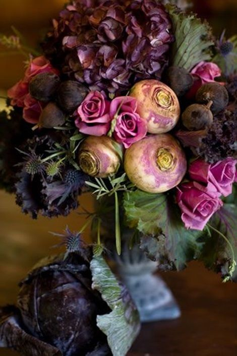 Just gorgeous....roses, hydrangia, teasles, turnips, purple cabbage.....I love it!!