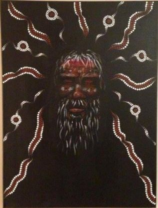 The Dreamer is an Aboriginal Elder - lost in his thoughts.  http://artfuly.com/artists/dreamonaboriginalarts/the-dreamer