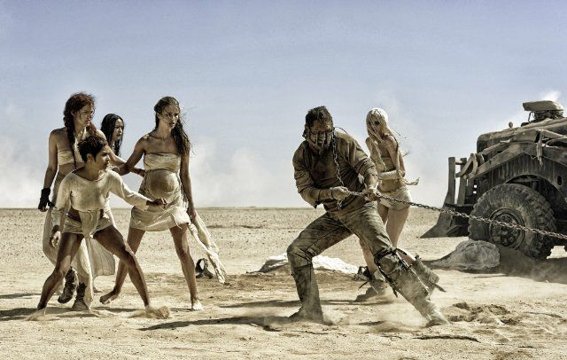 Still of Tom Hardy, Riley Keough, Zoë Kravitz, Rosie Huntington-Whiteley, Abbey Lee and Courtney Eaton in Mad Max: Fury Road (2015)