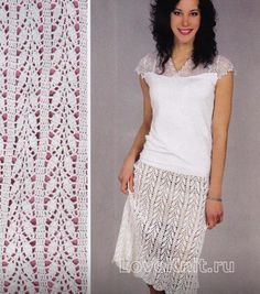Схема крючком белая ажурная юбка