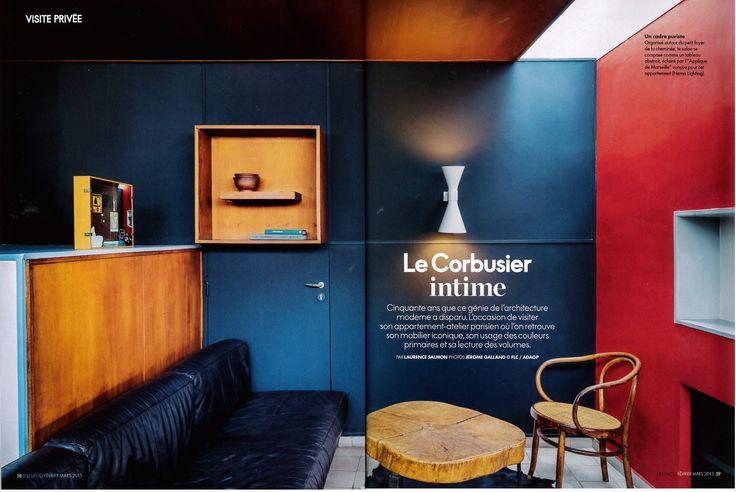 Applique de Marseille design by Le Corbusier reissued by #nemolighting http://nemolighting.com/products/show/applique-de-marseille/  Nemo's lamps at Le Corbusier's apartment in Paris. ELLE DECOR FRANCE n° 233 with NEMO and La Fondation Le Corbusier #nemolighting #nemolamps #lecorbusier #elledecorationfr #elledecor — presso 24, rue Nungesser et Coli