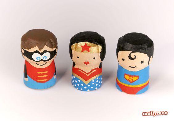 Painted wine cork superheroes