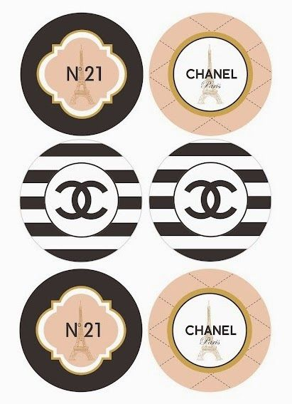 Chanel: Free Printable Toppers, Stickers, Bottle Caps or Labels.Gratis.