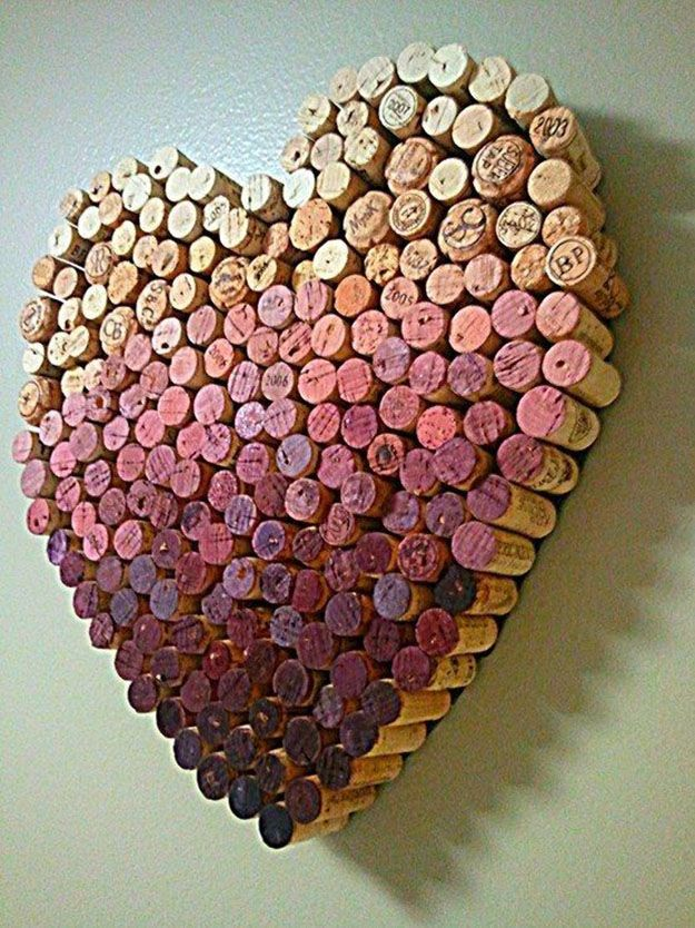 Wine Cork Craft Ideas for DIY Wall Decor - DIY Wine Cork Heart - DIY Projects & Crafts by DIY JOY at http://diyjoy.com/diy-wine-cork-crafts-craft-ideas