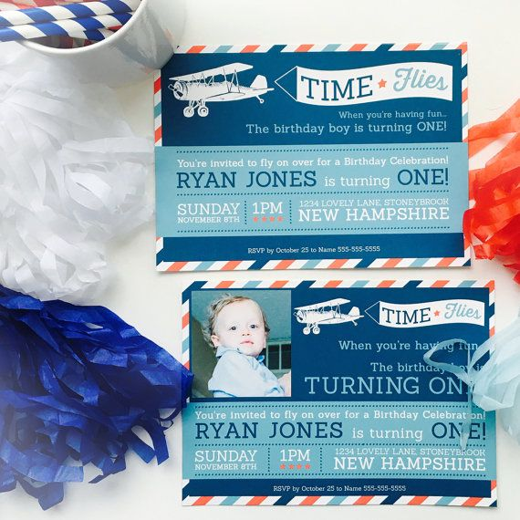 Airplane Time Flies Birthday Party Invitation by JeanAndJosie