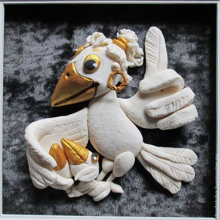 """Фантазийные сюжеты ручной работы. Ярмарка Мастеров - ручная работа панно """"Белая ворона."""" Мамины уроки. Handmade."""