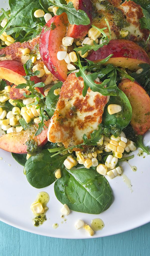 Peach-Sweet-Corn-and-Halloumi-Salad-with-Lemon-Basil-Vinaigrette_best-salad-for-summer_Yes,-more-please!