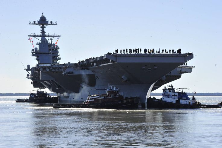 170408-KU586-0038 NEWPORT NEWS, Va. (April 8, 2017) - Pre-Commissioning Unit Gerald R. Ford (CVN 78) departs Huntington Ingalls Industries Newport News Shipbuilding for builder's sea trials off the coast. The first- of-class ship—the first new U.S. aircraft carrier design in 40 years—will spend several days conducting builder's sea trials, a comprehensive test of many of the ship's key systems and technologies. (U.S. Navy photo by Chief Mass Communication Specialist Christopher Delano)