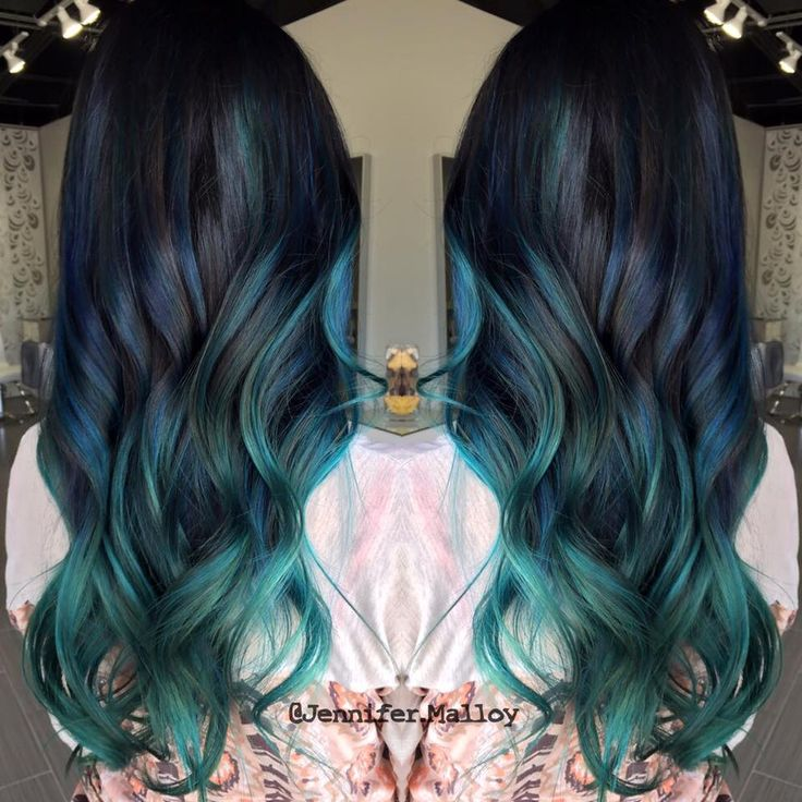 Deep Sea Mermaid. Turquoise to Teal Color Melt Hair Painting by Jennifer Malloy. #hotonbeauty