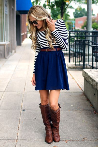 full navy skirt + navy striped shirt + brown belt and boots
