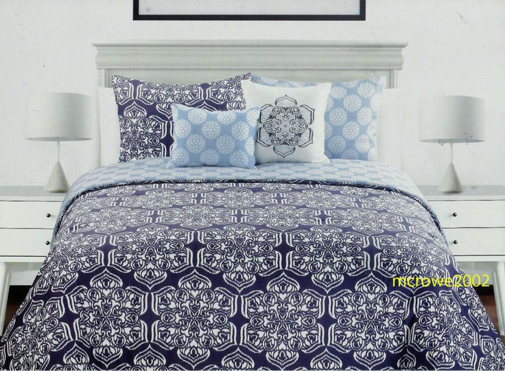 Cynthia Rowley NAVY BLUE 3pc FULL QUEEN DUVET SHAMS