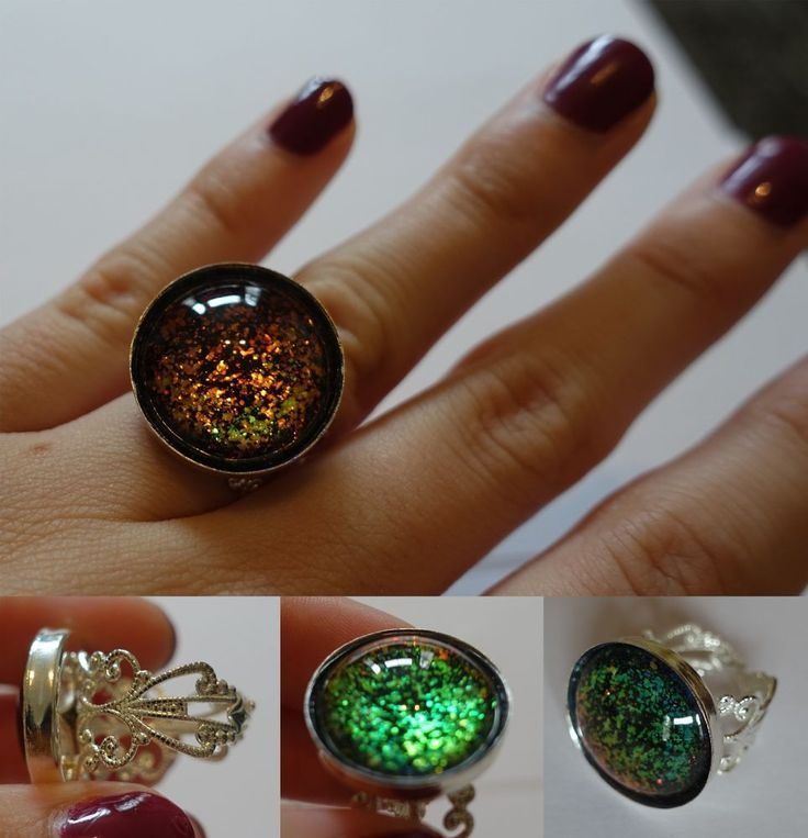 Handmade ring, adjustable, black rainbow, ONE OF A KIND, gothic in Jewellery & Watches, Costume Jewellery, Rings | eBay